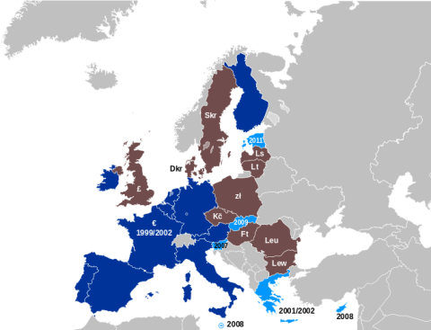 Currency Map of the EU