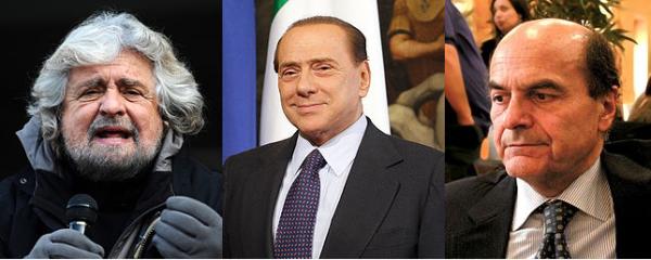 Grillo Berlusconi Bersani